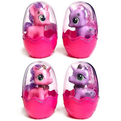 Set of 4 Little Unicorn Pony Toys in Plastic Egg Cases - Birthday Gift Filler