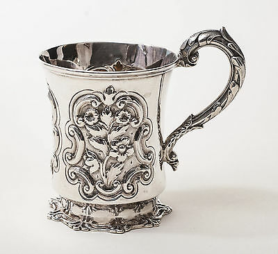 Antique Early Victorian Solid Silver Repousse Christening Mug - London 1845