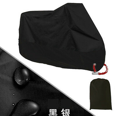 Full Black Motorcycle Scooter Waterproof UV Dust Protector Rain Cover Size L
