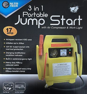 12V 400AMP 4-In-1 Rechargeable Battery Jump Starter Emergency Car Booster Leads