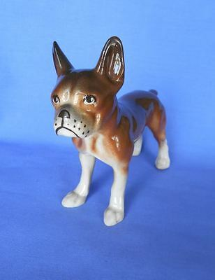 Vintage Porcelain Seal Boston Terrier Dog Figurine Glossy Finish Germany