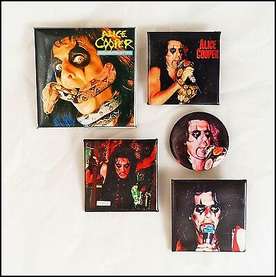 Alice Cooper Lot Of 5 80's Buttons Pins / Constrictor