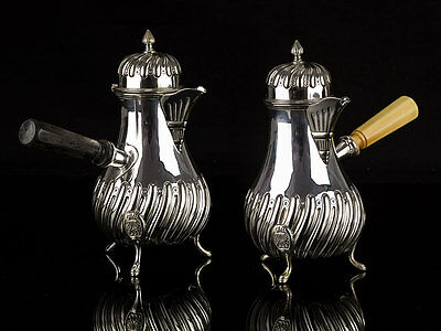 c1887 Pair of Silver Plated Chocolate Pots by Mappin & Webb