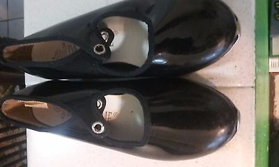 Dance Time Girls Youth Black Patent Leather Tap Dance Shoes SIZE 12