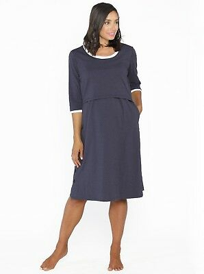 Hospital Birthing Gown with Nursing Access - Navy Spots #N804