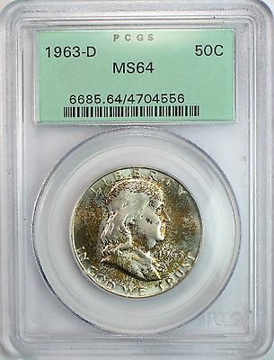 1963-D 50c Franklin Half Dollar -- PCGS MS64 -- Light Toning