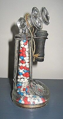 Vintage Glass Telephone Candy Container