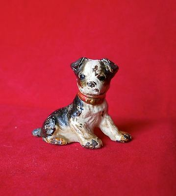Old Hubley Cast Iron Boston Terrier or Bulldog Small Figurine Card Holder Dog