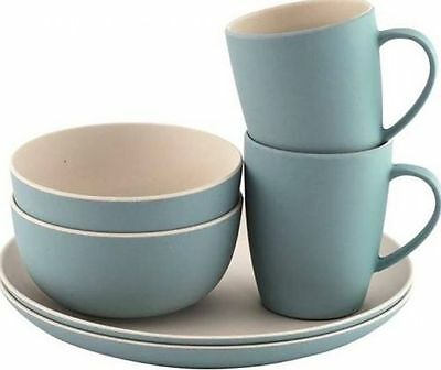 Outwell Bamboo Camping Dinner Plate & Cup Set for 2 PERSONS - Iris Blue