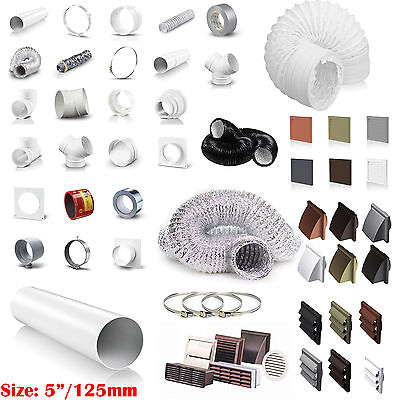 "5"" 125mm Plastic Round Kitchen Ducting Ventilation Duct Pipe Tube Extractor Fan"