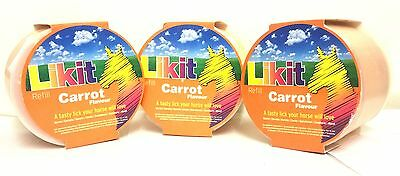 LITTLE LIKIT CARROT FLAVOUR REFILLS EQUESTRAIN HORSE TREAT JOBLOT X3 650g TUBS