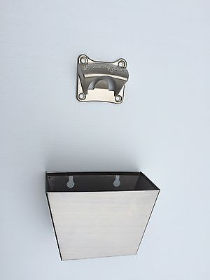 Square Wall Mounted Bottle Opener with Cap Catcher, Open Beer here