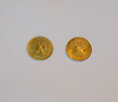Two 1854 & 1855 GOLD $1 One Dollar Princess Type ll 2 U.S. Coins