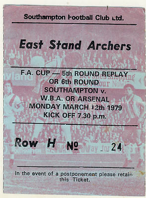Ticket : Southampton v Arsenal 19/3/1979 FA Cup Arsenal won the cup in this year