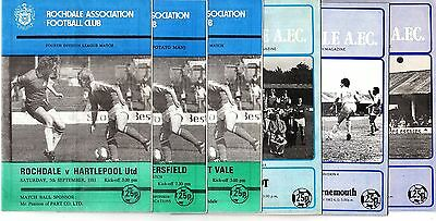 1981-1982 Rochdale  Home Programmes - select the one you want POST FREE