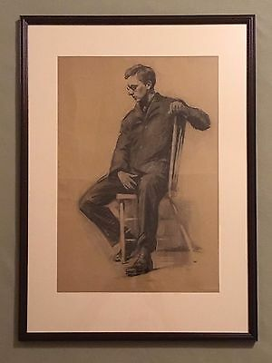 Large original antique charcoal drawing figure study, seated man in suit, framed