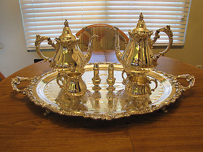 Vintage Wallace BAROQUE Silverplate Coffee & Tea Set Matching Tray 7 Piece
