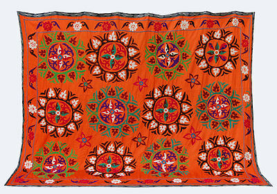 Large Uzbek Hand Embroidered Silk On Cotton Old Suzani Of Baysun Mar-194