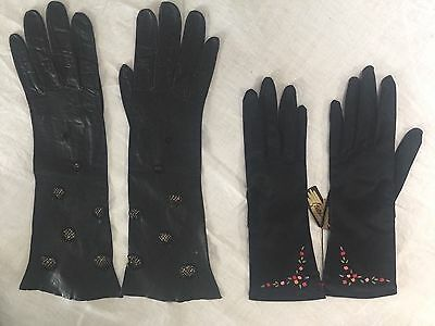 Vintage Black Ladies Gloves From France! 2 Pair In Sale: 1 Fabric & 1 Leather