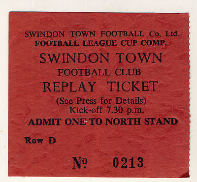 Ticket : Swindon Town v Arsenal 11/2/1979 League Cup