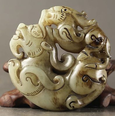 Chinese old natural jade hand-carved phenix  and dragon pendant 2.0 inch