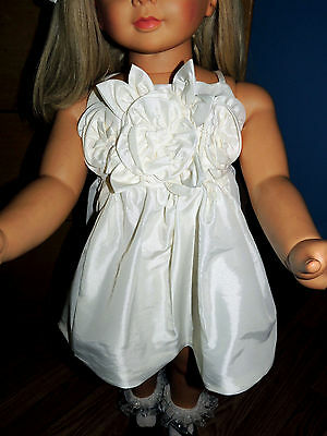 ReDuCeD PRETTY WHITE ORGANZA PARTY DRESS & BOW  PATTI PLAY PALY OR SIMILAR DOLL