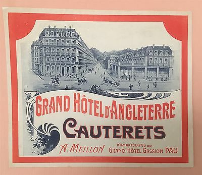 Rare 1900s Luggage Label Grand Hotel D'Angleterre, Cauterets - France / large