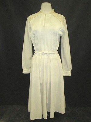 Vintage JC Penney Polyester Long Sleeve Dress w/Belt Netting & Lace Trim No Size