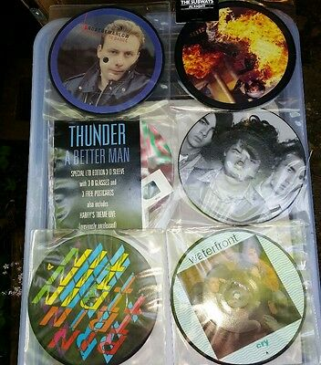 """Job Lot 6 7"""" Picture Disc Vinyl Records Some No outer sleeves or backing boards"""