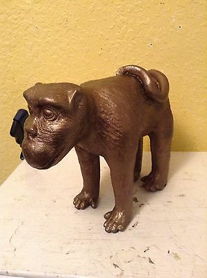 Vintage Ceramic Monkey Figurine / Statue Color Brass