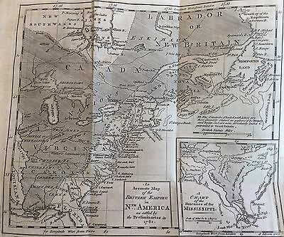 1762 lrge FOLD OUT EARLY PRINTING MAP American Colonies @ End French Indian War