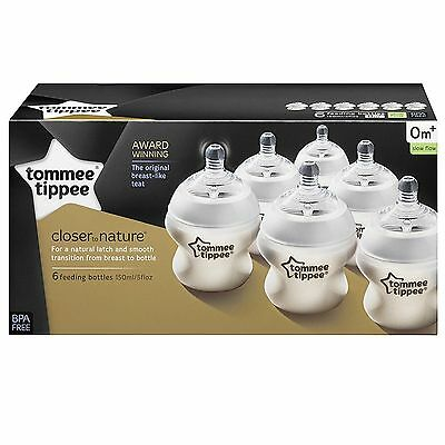 6x Tommee Tippee Closer To Nature Easi Vent 150ml Baby Feeding Bottles 0m+