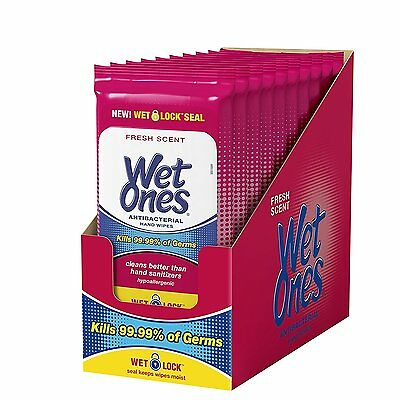 Wet Ones Antibacterial Hand Wipes, 20 Count  Pack Of 10