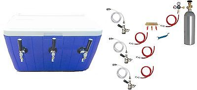 Portable Kegerator Beer Jockey Box Tap Triple 3 Keg Faucet Cooler full kit