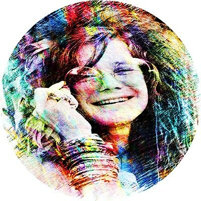 "Janis Joplin Portrat in/outdoor Vinyl Sticker 2.75""rnd Hippie Biker Rock n Roll"