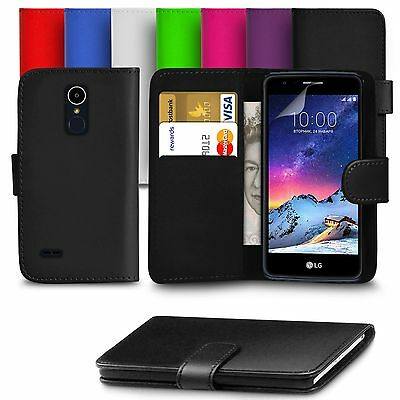 For LG K8 2017 PU Leather Wallet Case Cover With Screen Protector