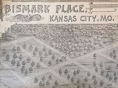 1887 newspaper POSTER MAP Early KANSAS CITY Missouri BISMARK PLACE Hammerslough