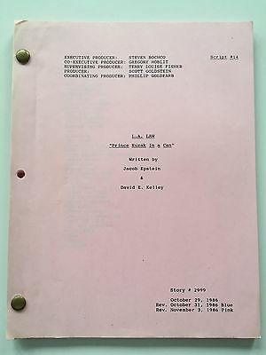 Original TV Script 14 Revised Pink LA Law Prince Cuzak In A Can November 3 1986