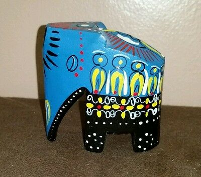 Vintage Small Wooden Elephant Hand Painted Hand Carved India Decor