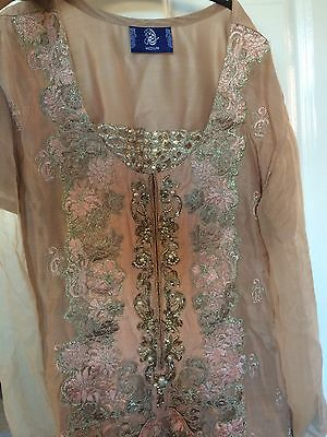 pakistani asian pinky rose gold suit indian party wear