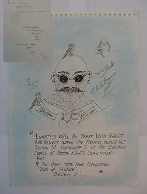 ORIGINAL Charles Bronson signed A4 art for Charlie Richardson (Richardson bros)