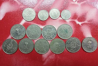 Old Saudi Arabia Coin Lot - 14 Vintage Islamic Coins - 100 50 10