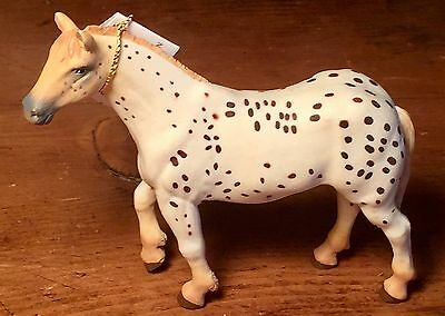 """Collectible PAPO 4"""" White Horse with Brown Spots - Great Farm Toy"""