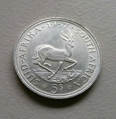 1957 South Africa 5 Shillings Silver coin