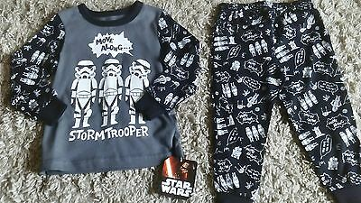 Star Wars Disney Bnwt Baby Boys Storm Trooper Pyjama Set Age 18/24 Months New