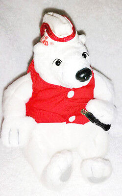 "RARE- Mint - HTF 1999 Coca Cola Soda Fountain Jerk 7"" Polar Bear Plush Bean Bag"