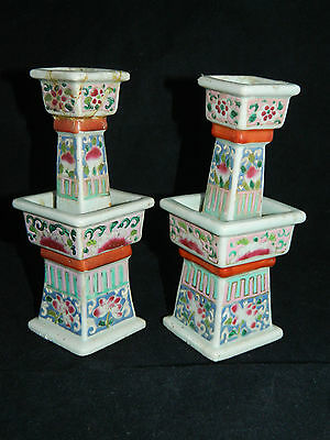 Antique Chinese porcelain candlesticks famille rose Qing 19th c