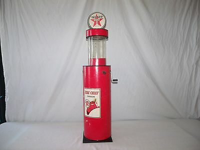 Vintage Texaco ~ Sylvanus Bowser Style ~ Toy Gas Pump ~ 34 Inch High ~ As Is ~