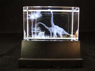 Dinosaur Crystal Laser Block and White Light Box Two Long Necked Dinosaurs.