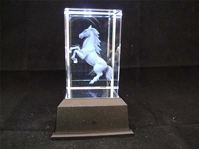 Solid Glass Crystal Laser Block and White Light Box Standing Horse.
